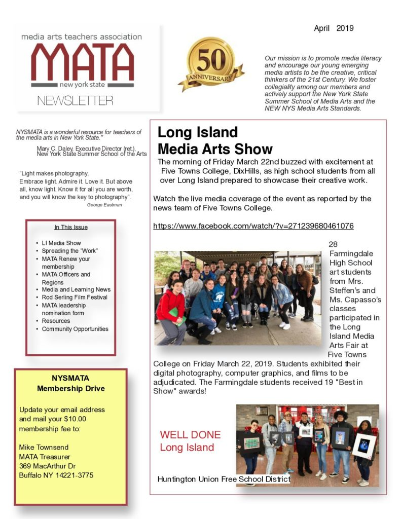 MATA Newsletter April 2019 (PDF)