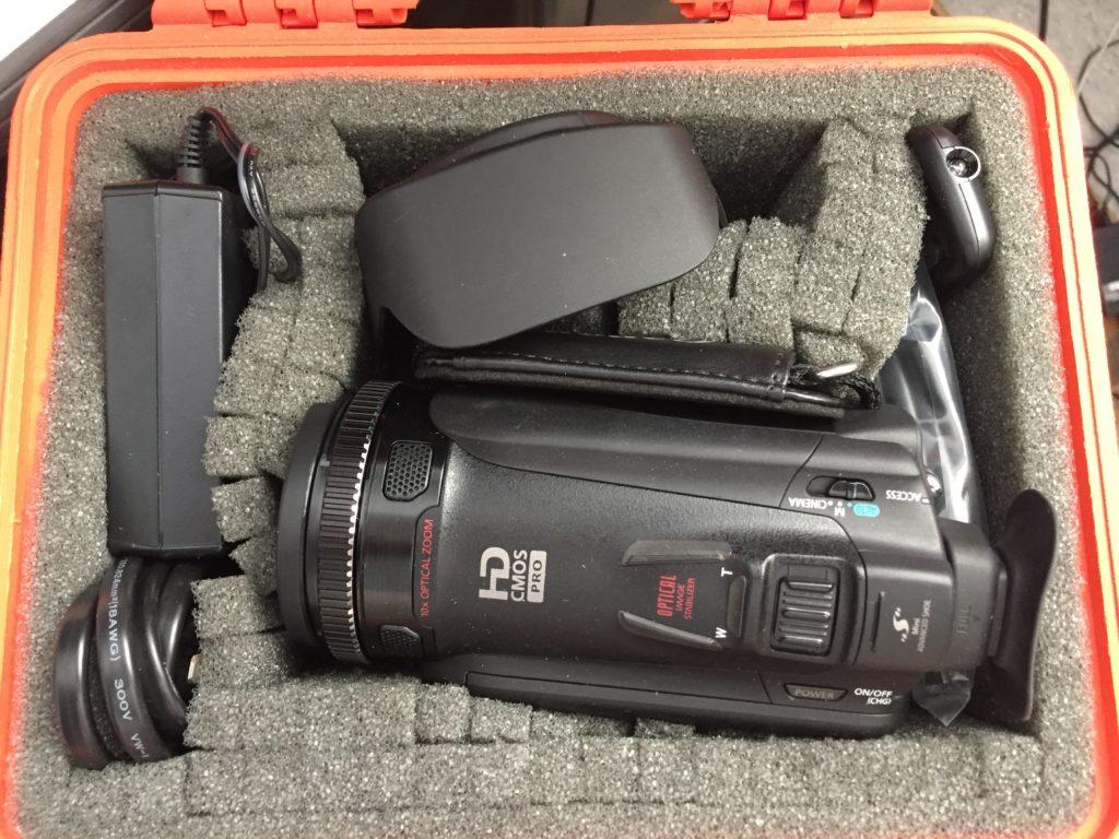 Canon camcorder in a Pelican case.